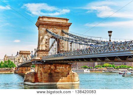 Budapest, Hungary-may 04, 2016:szechenyi Chain Bridge At Morning Time. Budapest, Hungary.