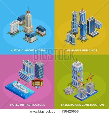 Isometric city 2x2 icons set with different kinds of historic and modern buildings and hotel infrastructure isolated vector illustration