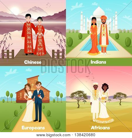 Multicultural wedding 2x2 design concept with chinese indian european and african couples flat vector illustration