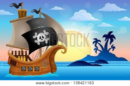 Pirate ship near small island 4 - eps10 vector illustration.