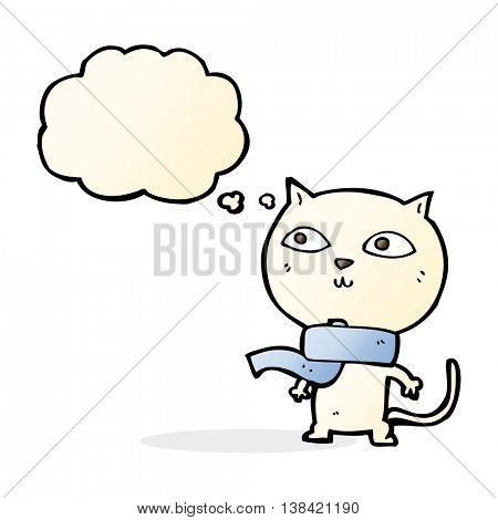 cartoon funny cat wearing scarf with thought bubble