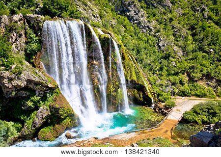 Krcic waterfall in Knin scenic view Dalmatian inland Croatia