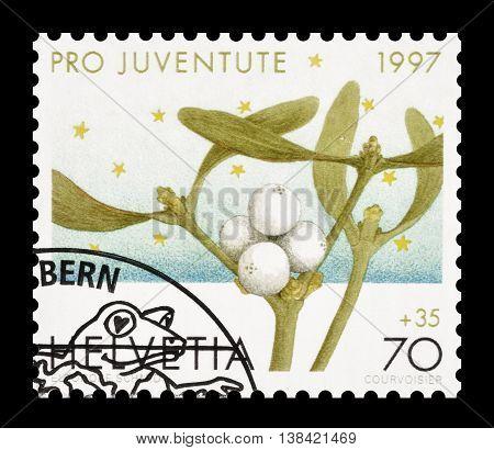 SWITZERLAND - CIRCA 1997 : Cancelled postage stamp printed by Switzerland, that shows Mistletoe.