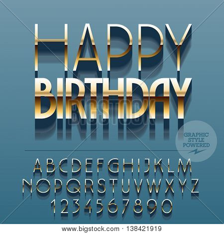Set of glossy golden alphabet letters, numbers and punctuation symbols. Vector reflective greeting card with text Happy birthday. File contains graphic styles