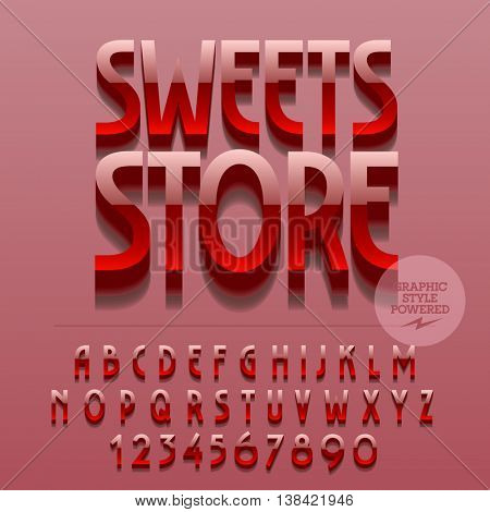 Set of glossy alphabet letters, numbers and punctuation symbols. Vector reflective metallic emblem with text Sweets store. File contains graphic styles