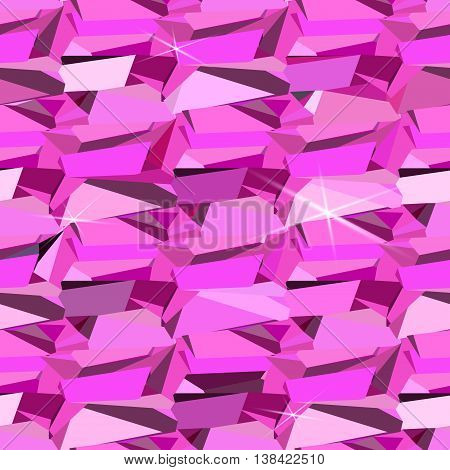 Pink ruby diamond crystal seamless pattern with rose shiny and sparkly. Girl concept glamour style design. Abstract geometric triangles texture. Vector illustration - stock vector.