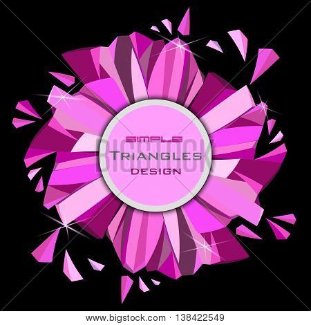 Pink glamour ruby diamond circle frame with rose sparkles on black background. Round label with text place. Vector illustration - stock vector.