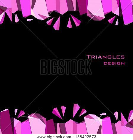 Pink horizontal frame on black background. Seamless border with ruby diamond crystal triangles. Abstract geometric girl design. Vector illustration - stock vector.