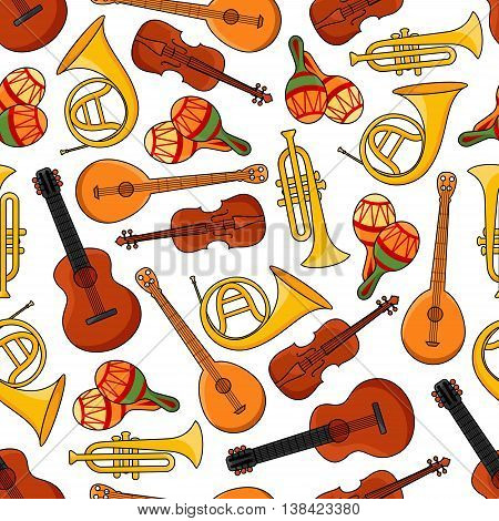 Sound equipment or music instruments seamless pattern with banjo and trumpet, saxophone and guitar, maracas or rumba shakers isolated on white