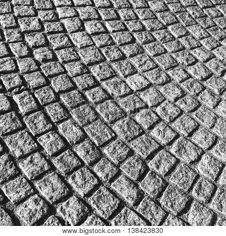 Dark Gray Cobblestone Street Pavement