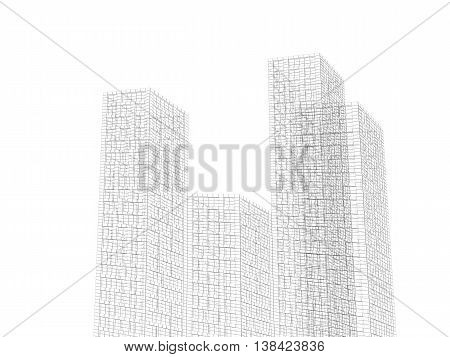 Digital 3D Graphic Background. Abstract Towers