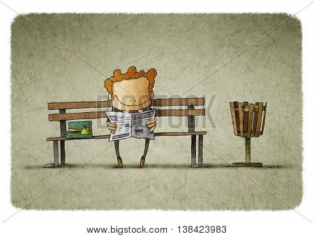 Illustration of smiling businessman with lunch box reading newspaper on bench.
