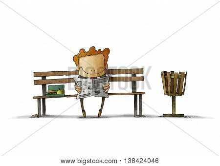 Illustration of smiling businessman with lunch box reading newspaper on bench.Isolated.
