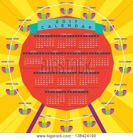 Colorful Ferris Wheel 2017 Printable Calendar Starts Sunday Vector Illustration. EPS 10