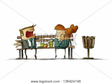 Illustration of businesswoman and businessman eating and drinking on bench on white background