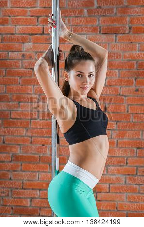 Young sexy pole dance woman posing against brick wall.