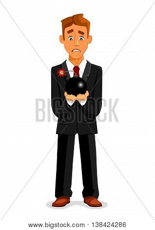 Cartoon businessman or manager in suit and necktie with scared look and fear holding ignited bomb and candle wick with sparks. Concept of deadline or crisis, taking risk or having stress, being in hurry.