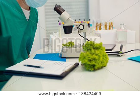 Testing of genetically modified food in the laboratory selective focus