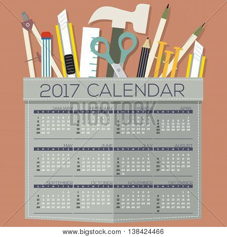 2017 Printable Calendar 12 Months Starts Sunday DIY of Handcraft's Tool Concept Vector Illustration. EPS 10
