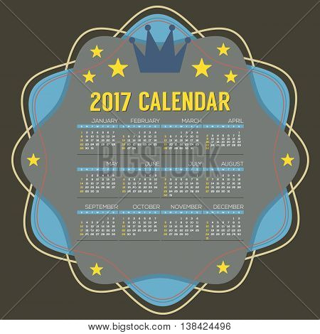 2017 Printable Calendar 12 Months Starts Sunday Vector Illustration. EPS 10