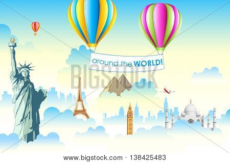 illustration of world famous monument in cloudscape with hot air balloon
