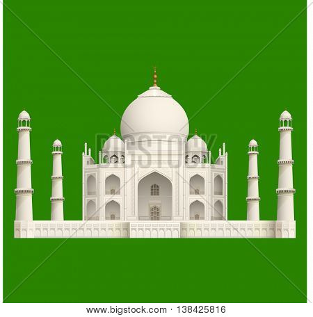 illustration of front view of taj mahal on islolated background