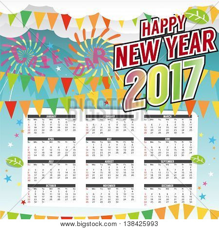 Happy New Year 2017 Printable Calendar Starts Sunday Vector Illustration. EPS 10