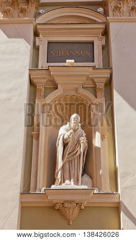 NICE FRANCE - APRIL 11 2016: Statue of St Bassus on the facade of Cathedral of Saint Reparata (circa 1699) in Nice France. St Bassus was a Christian martyr and the first bishop of Lucera in Italy