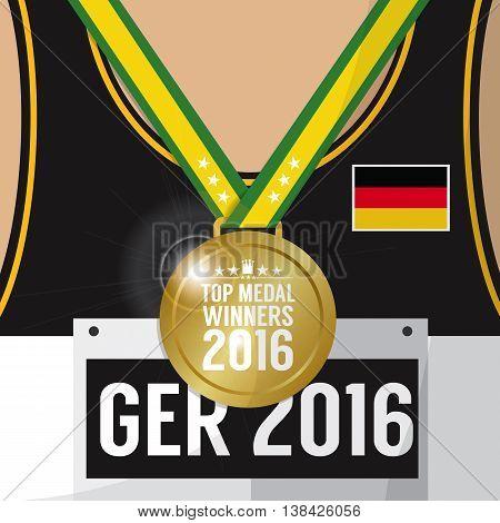Top Medal Winner 2016 Sport Competition Concept Germany Flag Vector Illustration. EPS 10