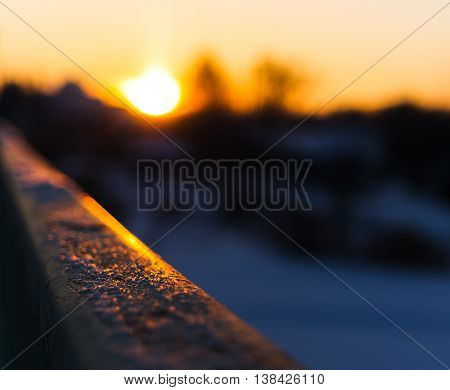 Horizontal vivid blank empty railing sunset bokeh background backdrop