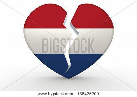 Broken White Heart Shape With Netherlands Flag
