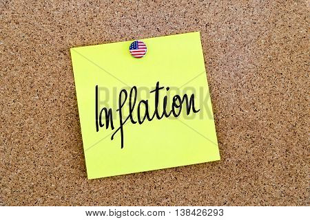 Written Text Inflation Over Yellow Paper Note