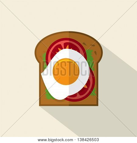 Top View Of Flat Design Sandwich Fried Egg With Tomatoes And Lattuce Vector Illustration. EPS 10