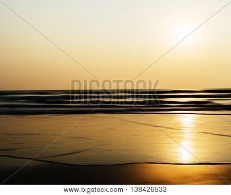 Horizontal Vivid Sunset Ocean Horizon Tidal Waves Blur Landscape