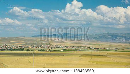 View on rural landscape in Cappadocia Central AnatoliaTurkey