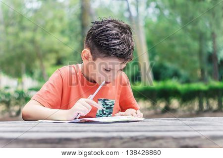 Boy learns to read and write at the park. Summer school holidays improve knowledge.
