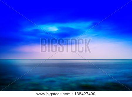 Horizontal Aqua Blue Fresh Seascape Cloudscape Abstraction Backg