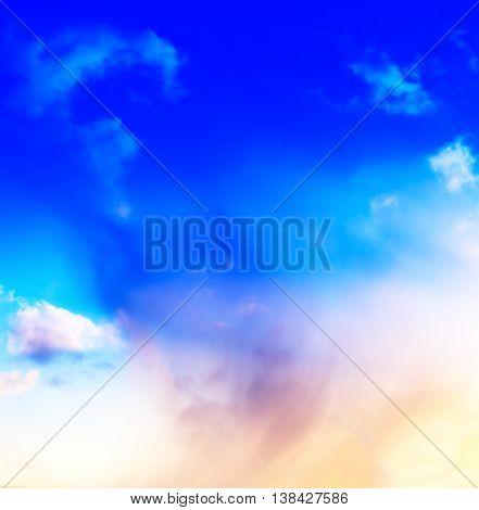 Vertical vivid blue spectre cloudscape dramatic clouds background backdrop