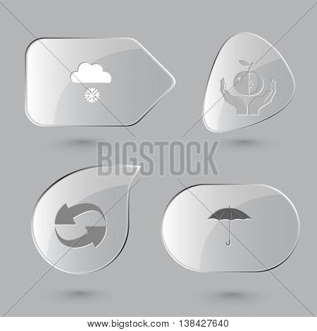 4 images: snowfall, apple in hands, recycle symbol, umbrella. Nature set. Glass buttons on gray background. Vector icons.