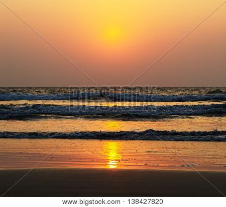 Horizontal Vivid Ocean Sunset Tidal Waves Background Backdrop
