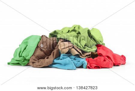 a pile of clothes over white background .