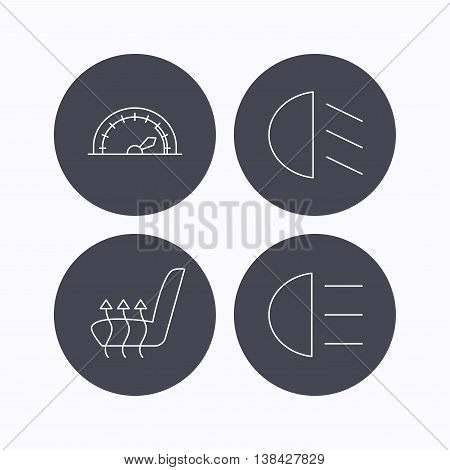 Speedometer, passing fog lights and heated seat icons. High beams linear sign. Flat icons in circle buttons on white background. Vector