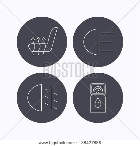 Petrol station, fog lights and heated seats icons. Gas fuel station linear sign. Flat icons in circle buttons on white background. Vector