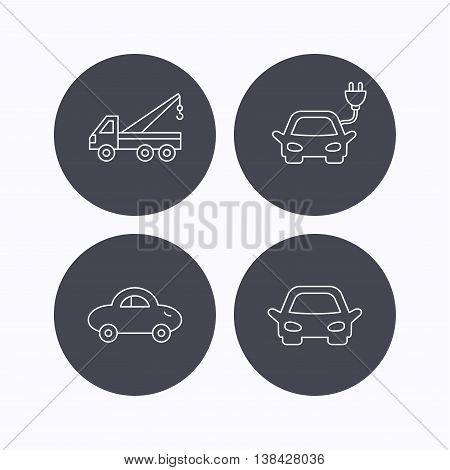 Electric car, evacuator and transport icons. Car linear signs. Flat icons in circle buttons on white background. Vector
