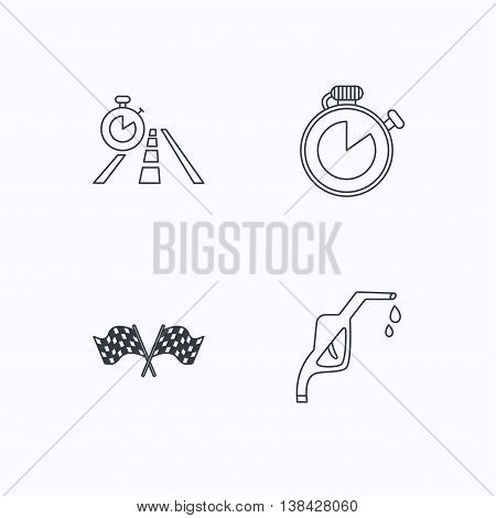 Race flags, travel timer and petrol station icons. Timer linear sign. Flat linear icons on white background. Vector