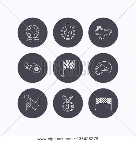 Race flag and speed icons. Winner medal, motorcycle helmet and timer linear signs. Map navigation flat line icons. Flat icons in circle buttons on white background. Vector