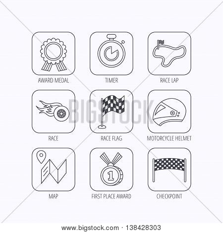 Race flag and speed icons. Winner medal, motorcycle helmet and timer linear signs. Map navigation flat line icons. Flat linear icons in squares on white background. Vector