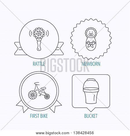 Newborn, rattle and first bike icons. Newborn child, bucket linear signs. Award medal, star label and speech bubble designs. Vector