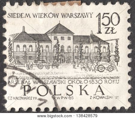 MOSCOW RUSSIA - CIRCA JANUARY 2016: a post stamp printed in POLAND shows a building of the Town Hall Warsaw the series