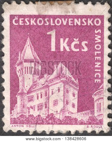 MOSCOW RUSSIA - JANUARY 2015: a post stamp printed in CZECHOSLOVAKIA shows a Smolenice castle the series